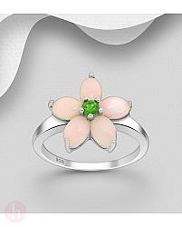 Inel din argint model floare cu pietre roz