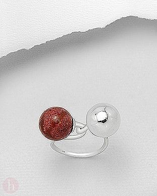 Inel din argint model cu doua bilute din argint si piatra rosie
