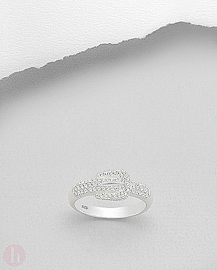 Inel din argint model catarama decorat cu cristale albe