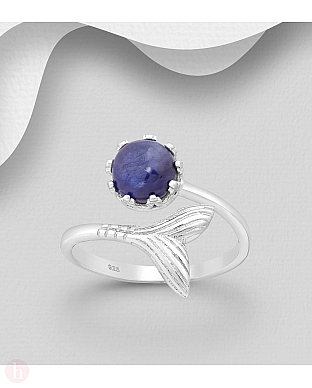 Inel din argint model coada de peste si piatra albastra