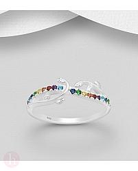 Inel din argint model crenguta cu frunze si cristale colorate