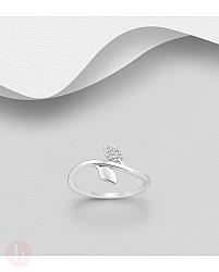 Inel din argint model frunze cu cristale albe