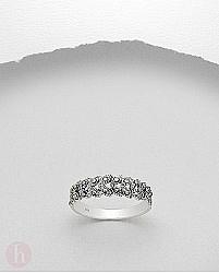 Inel din argint model frunze decorate cu marcasite