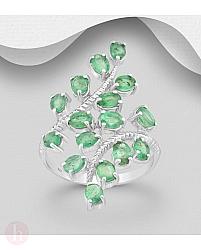 Inel din argint model frunza cu pietre verzi de smarald