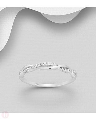 Inel din argint model impletit cu cristale