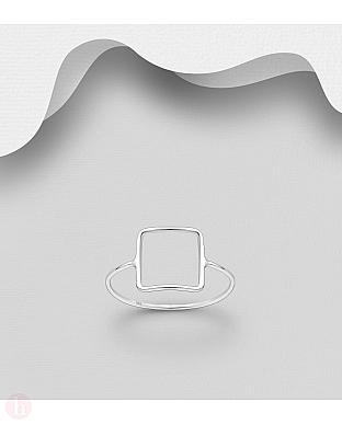 Inel din argint model patrat