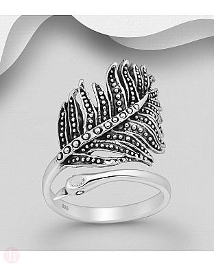 Inel ajustabil din argint model paun