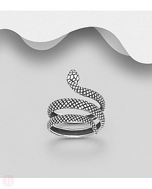Inel din argint model sarpe