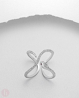 Inel din argint model sarpe cu cristale Zirconia albe