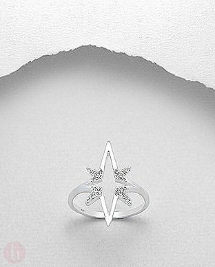 Inel din argint model stea decorata cu cristale albe