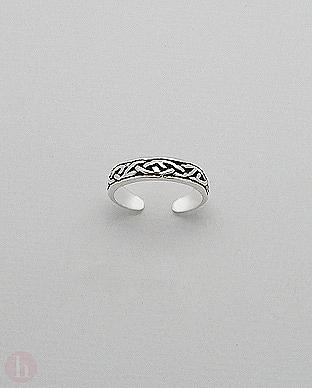 Inel din argint oxidat pentru picior, model celtic