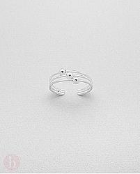 Inel din argint pentru deget picior cu bilute