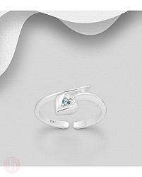 Inel din argint pentru deget picior cu inima