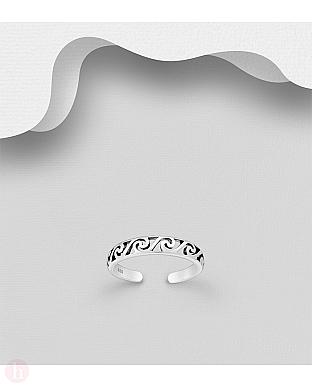 Inel din argint pentru deget picior model cu spirale