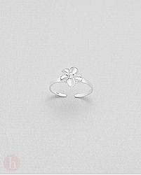 Inel din argint pentru deget picior, model floare cu cristal alb