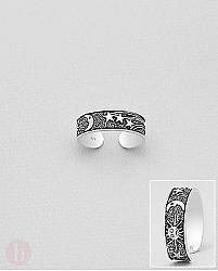 Inel din argint pentru deget picior model soare, luna si stele