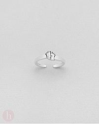 Inel din argint pentru picior model doua talpi