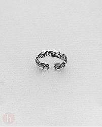 Inel din argint pentru picior model valuri impletite