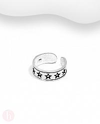 Inel din argint pentru picior cu stelute si aspect oxidat