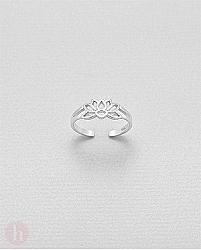 Inel din argint pentru picior model floare de lotus