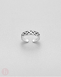 Inel din argint pentru picior, model impletit