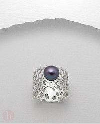 Inel lat din argint rodiat cu perla neagra