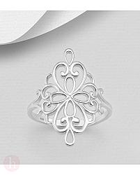 Inel din argint simplu, model floral