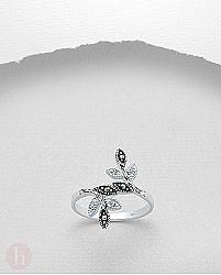 Inel frunzulite cu cristale si marcasite