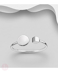 Inel geometric din argint