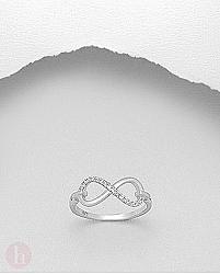 Inel Infinity cu cristale albe de Zirconia