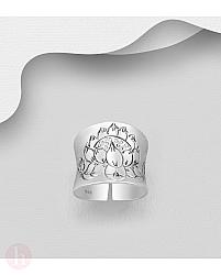 Inel lat din argint cu floare de lotus