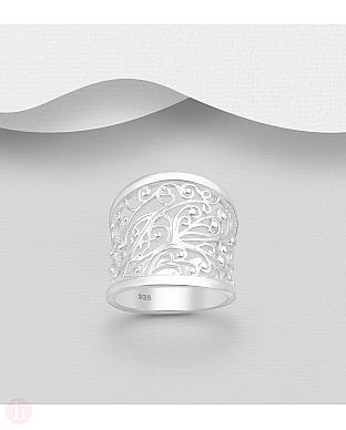 Inel lat din argint cu spirale