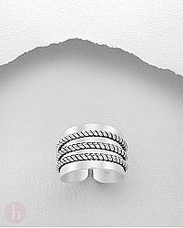 Inel lat din argint cu trei fire impletite