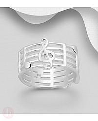 Inel lat din argint model portativ cu note muzicale