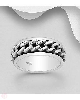 Inel lat din argint, model lant rotativ