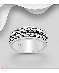 Inel lat din argint pentru barbati, model rotativ cu valuri