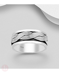 Inel lat din argint pentru barbati, model rotativ cu impletitura