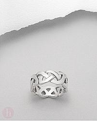 Inel lat unisex din argint, model celtic
