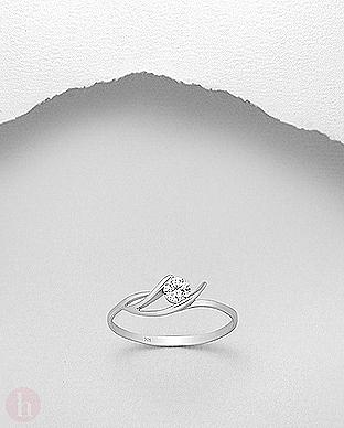 Inel logodna argint cu piatra alba de Zirconia