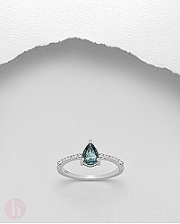 Inel logodna cu topaz bleu