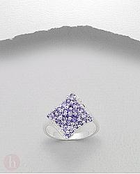 Inel mare argint romb cu cristale Zirconia mov