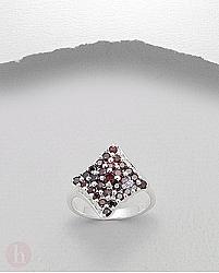 Inel mare argint romb cu cristale Zirconia rosii