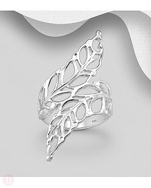 Inel lat din argint model cu frunze