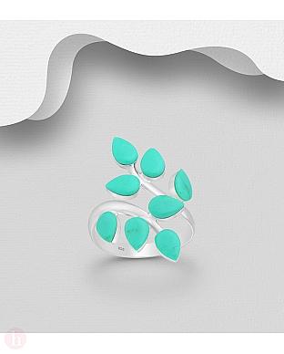 Inel argint reglabil frunze turcoaz