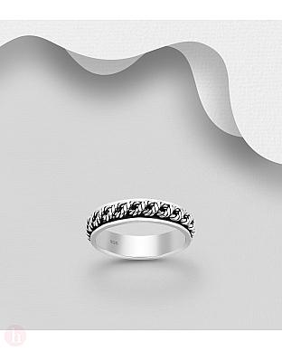 Inel rotativ din argint cu impletitura