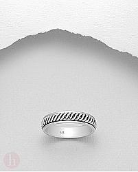 Inel rotativ din  argint cu spirale
