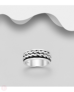 Inel rotativ din argint, model cu impletitura