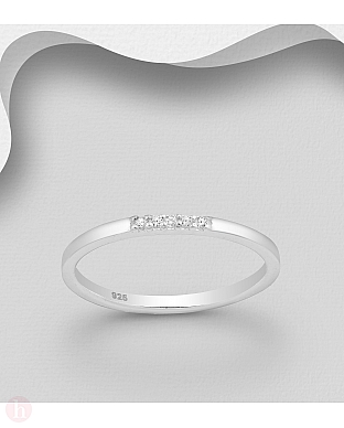 Inel subtire din argint cu cristale