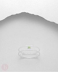 Inel subtire din argint cu piatra semipretioasa verde de peridot