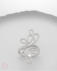 Inel supradimensionat din argint cu cristale Zirconia albe